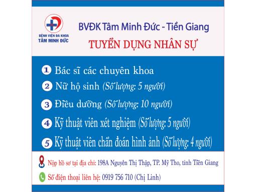 Bệnh Viện Tâm Minh Đức - Tiền Giang tuyển dụng nhân sự